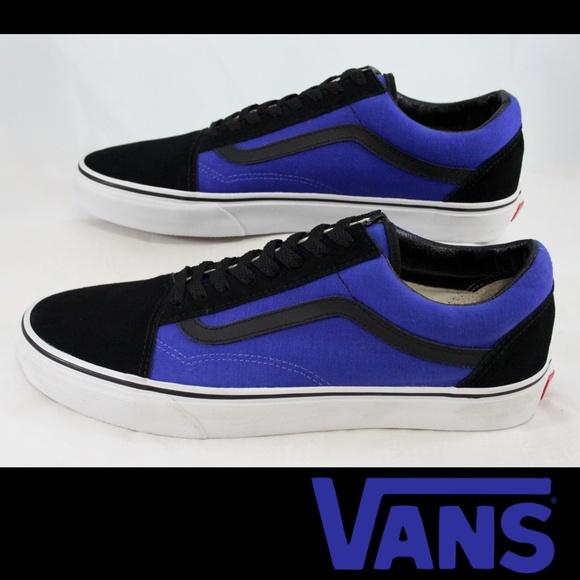 blue and black low top vans